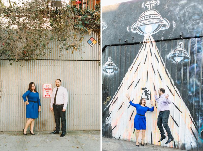 DTLA arts district engagement photos with graffiti murals