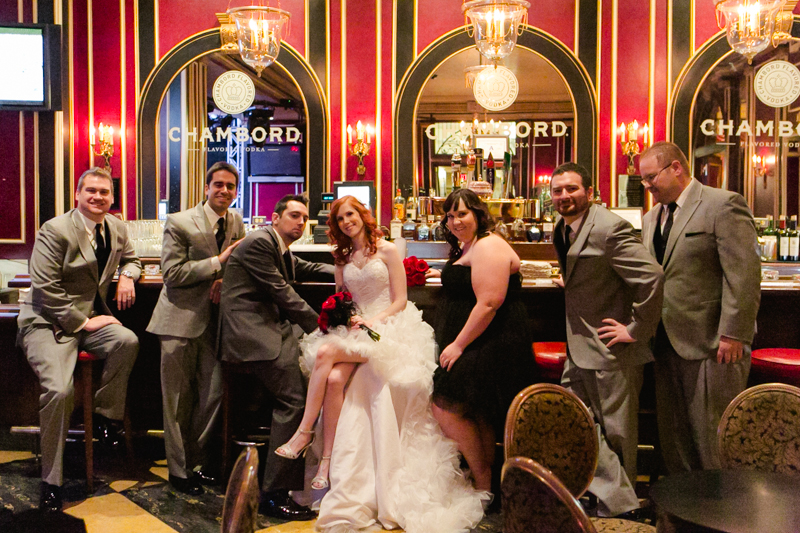Bridal party portraits at vintage bar