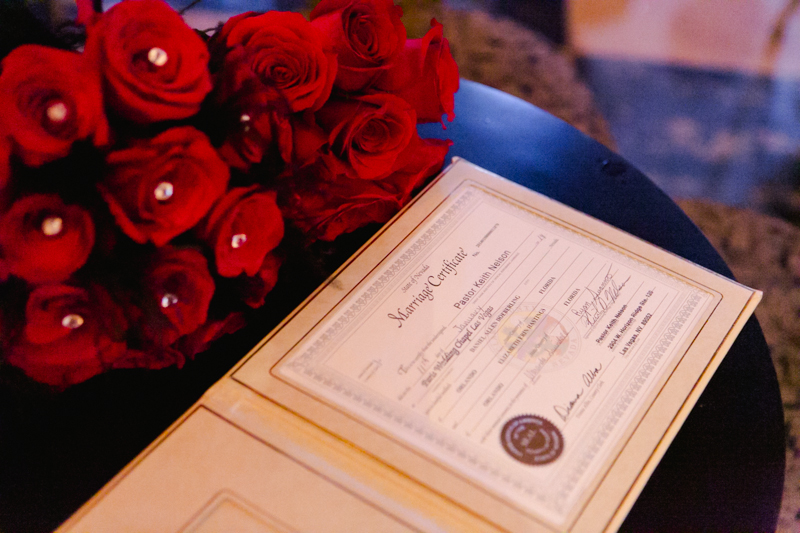 Paris marriage certificate and bouquet