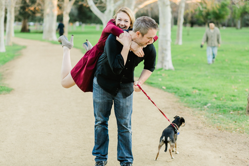 Los Angeles fun happy dog park engagement photographer