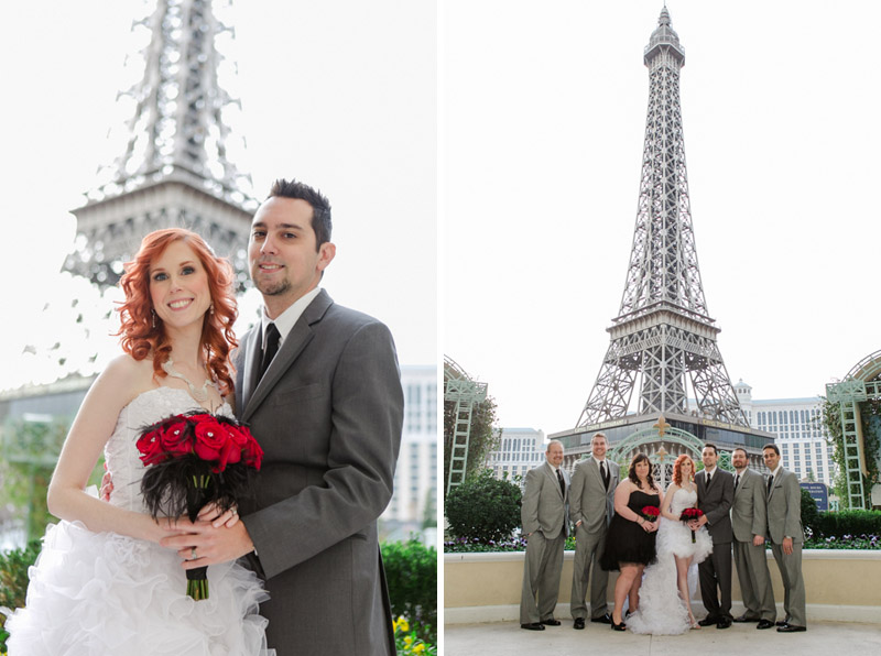 Bride and groom in front of Eiffel Tower at Paris Hotel