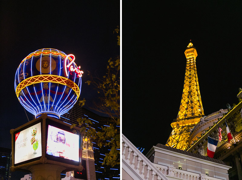 Paris Hotel and Eiffel Tower at night