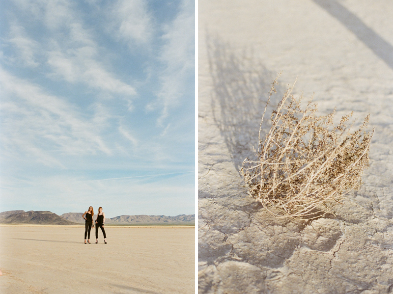 Las Vegas desert salt flats photo shoot with tumbleweeds