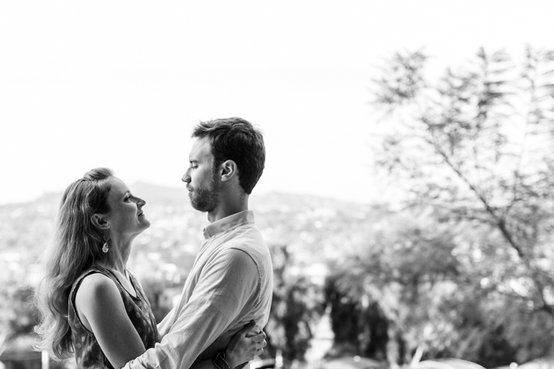 LA black and white couples photography at Barnsdall Art Park
