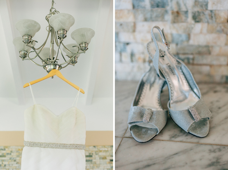 Los Angeles wedding photographer - bridal gown on chandelier and silver bow shoes
