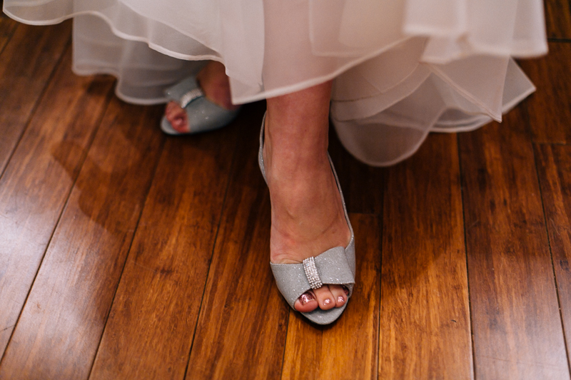 silver shoes at indie wedding