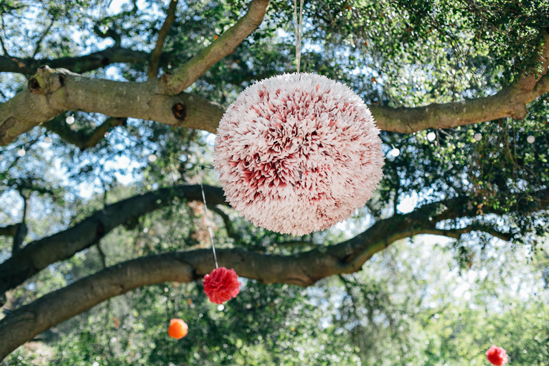 Los Angeles huge colorful DIY tissue pom poms for outdoor ceremony