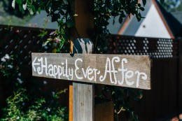 DIY ceremony sign for indie Los Angeles wedding