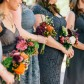 Grey dresses and colorful DIY bouquets for bridesmaids