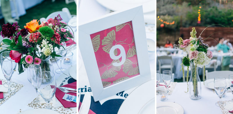 Indie wedding reception decor flowers and table numbers