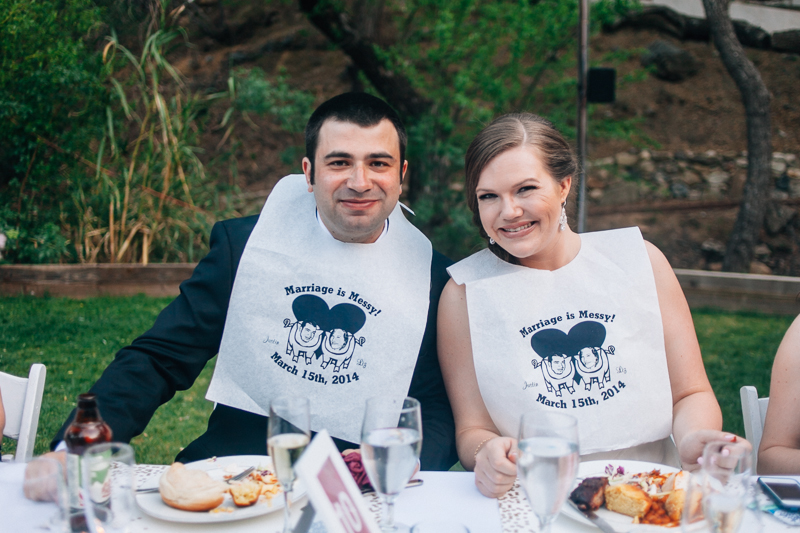 Custom wedding bibs for BBQ dinner reception