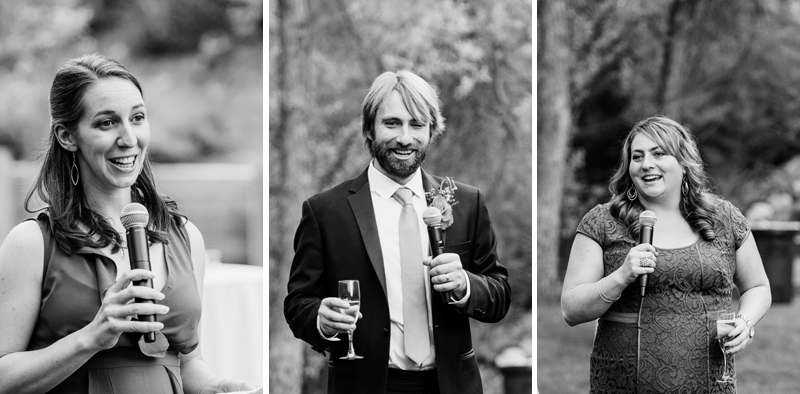Speeches at indie wedding reception