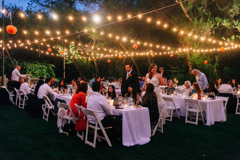 Night time outdoor wedding reception Topanga Canyon the 1909