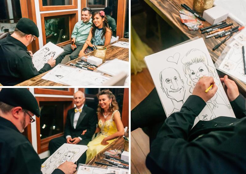 Cool wedding idea - caricature artists for guests at reception