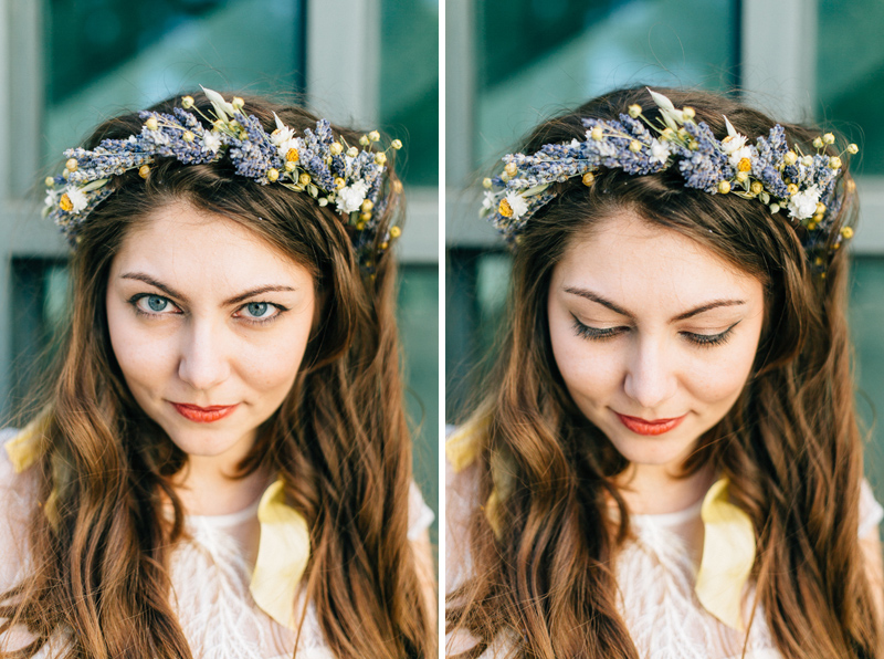 Beautiful bohemian bride with floral crown with dried lavender