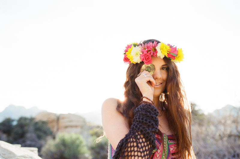 fun flirty festival fashion with a floral crown and boho jewelry