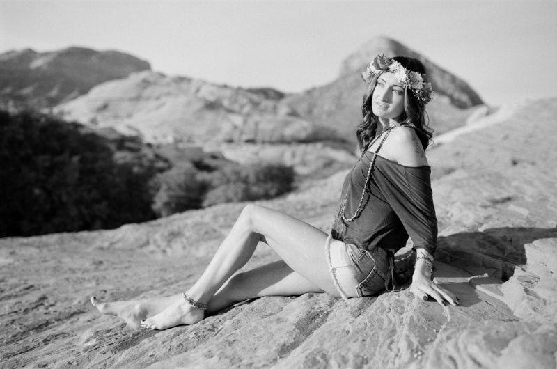 Film desert fashion photographer boho jewelry at red rock canyon nevada