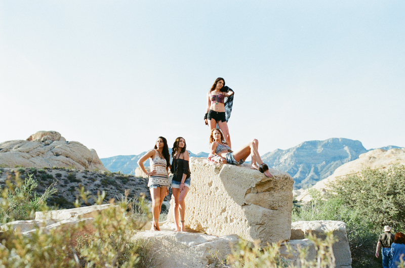 Red Rock Canyon desert fashion shoot on film