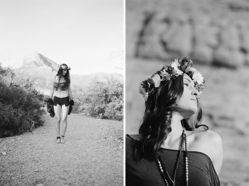 Desert bohemian fashion photo shoot on black and white film