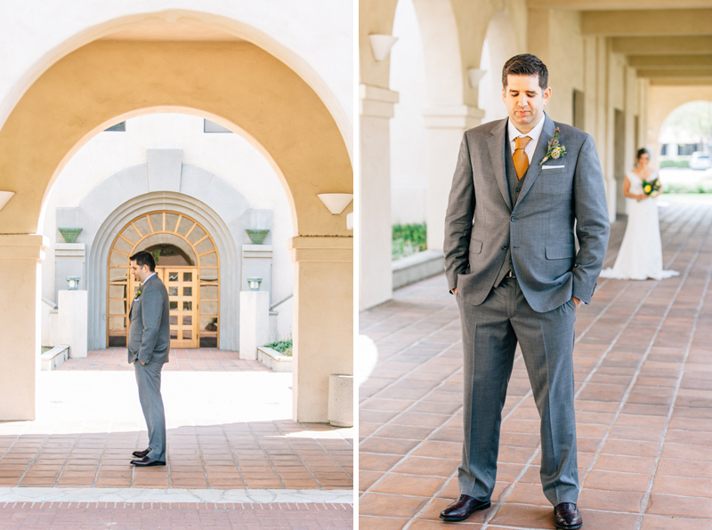 Pasadena Cal Tech campus wedding first look bride and groom