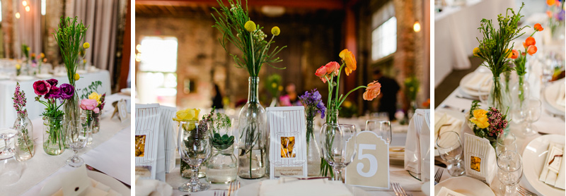 flowers, favors, and tablescapes for Huron Substation wedding reception