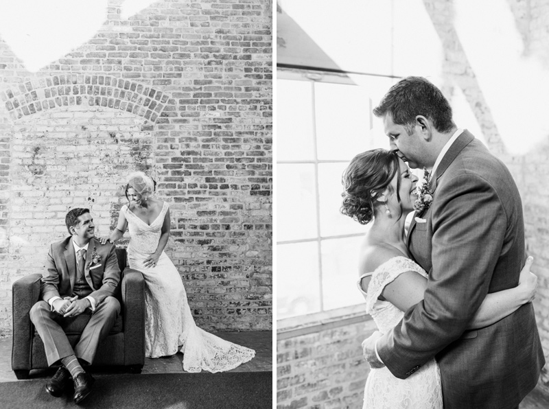 Exposed brick loft with industrial touches at Huron Substation wedding