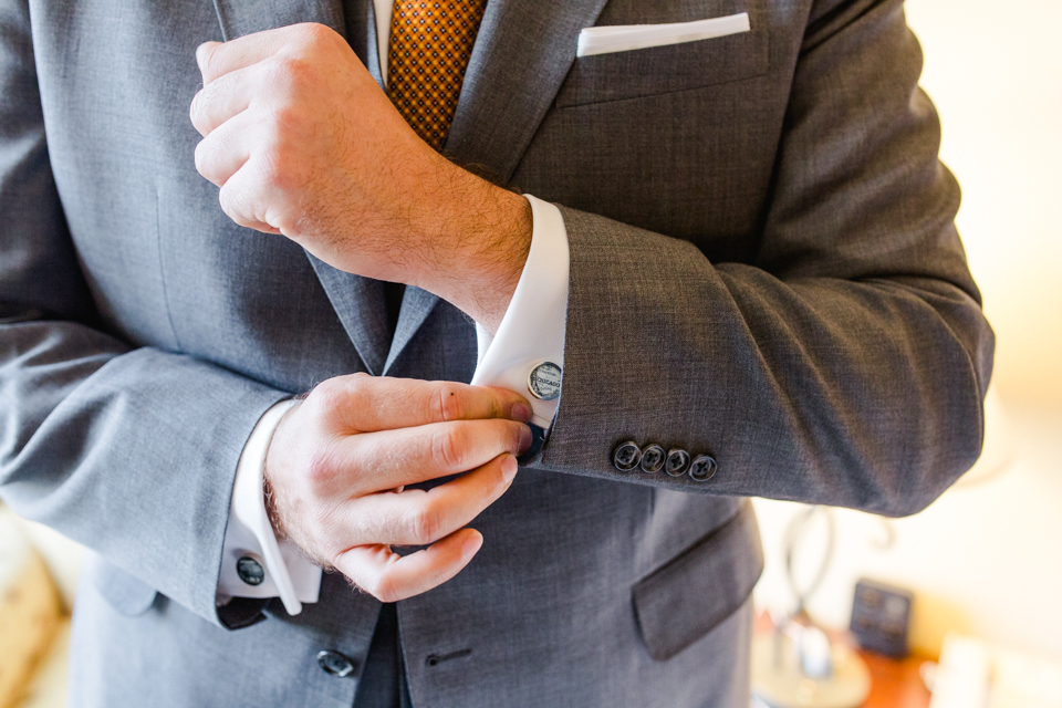 Los Angeles wedding photography - custom Chicago cufflinks for groom