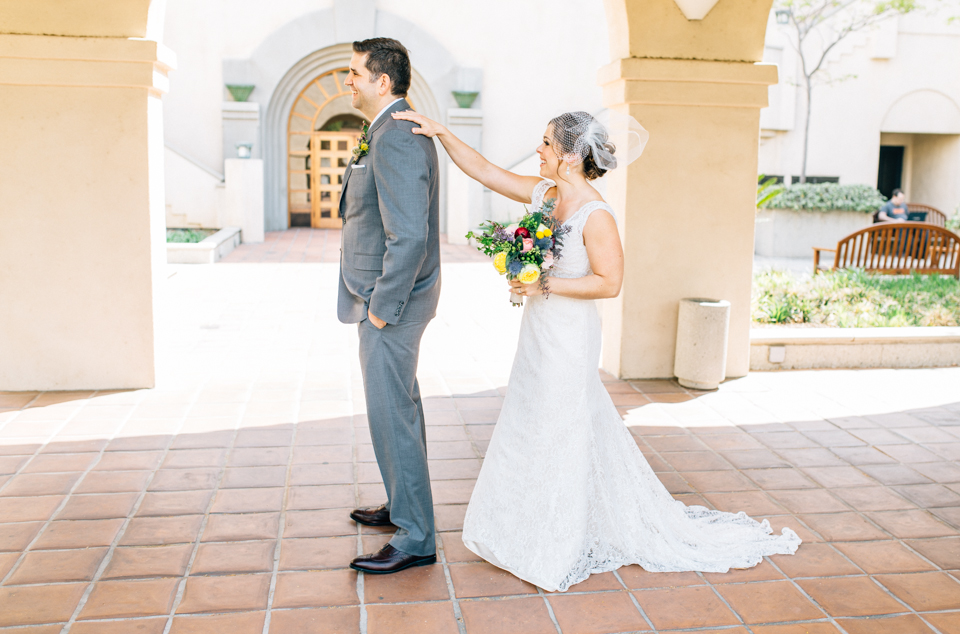 Pasadena bride and groom first look archways