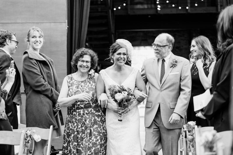 Bride at rustic modern loft wedding Huron Substation