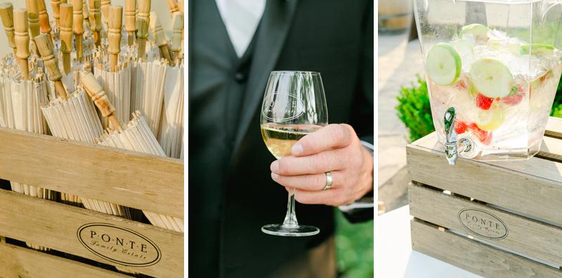 Ponte Winery wedding details before vineyard ceremony