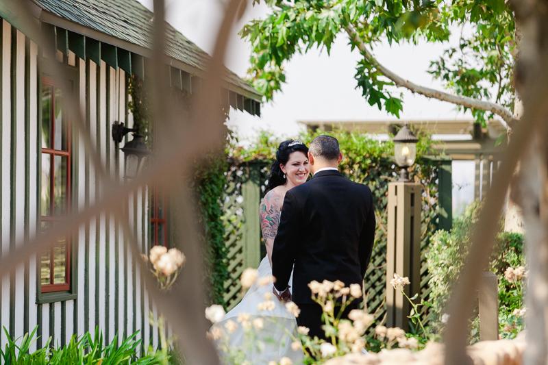vineyard wedding first look bride and groom