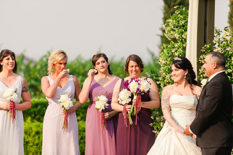 ombre purple bridesmaids dresses at outdoor vineyard wedding