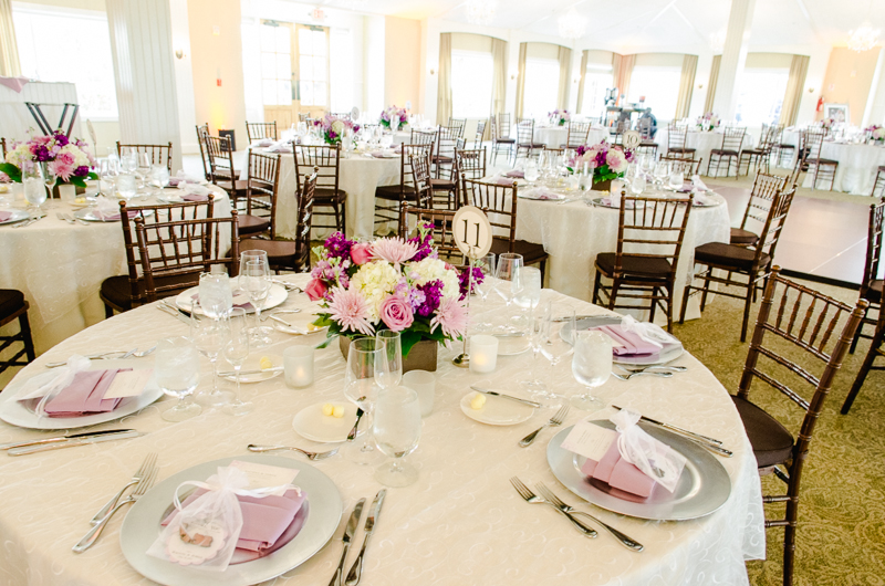 Purple and Ivory wedding colors for Ponte Estate wedding reception