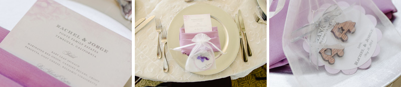 purple and ivory wedding details at modern vineyard wedding reception