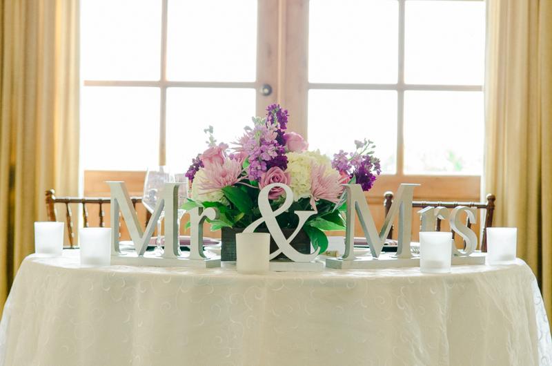 sweetheart table at vineyard wedding reception