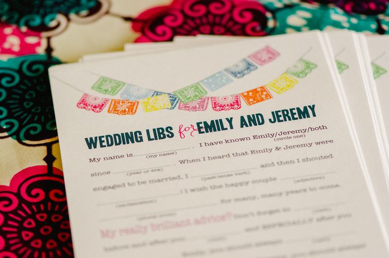 wedding mad libs printed on Papel Picado stationary