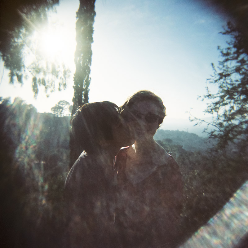 Toy camera holga lesbian engagement session. Tree People Park Los Angeles