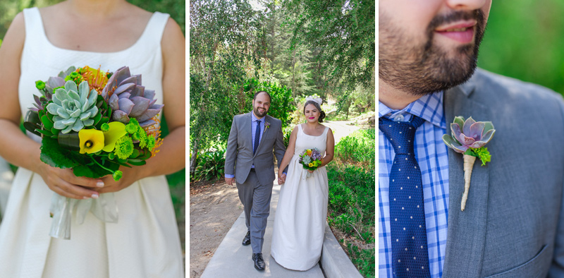 Succulents in bridal bouquet and boutonniere for modern colorful Los Angeles wedding