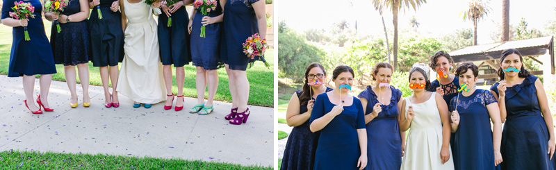 Fun quirky Los Angeles wedding. Bridesmaid with mismatched bold colorful shoes and fake mustaches