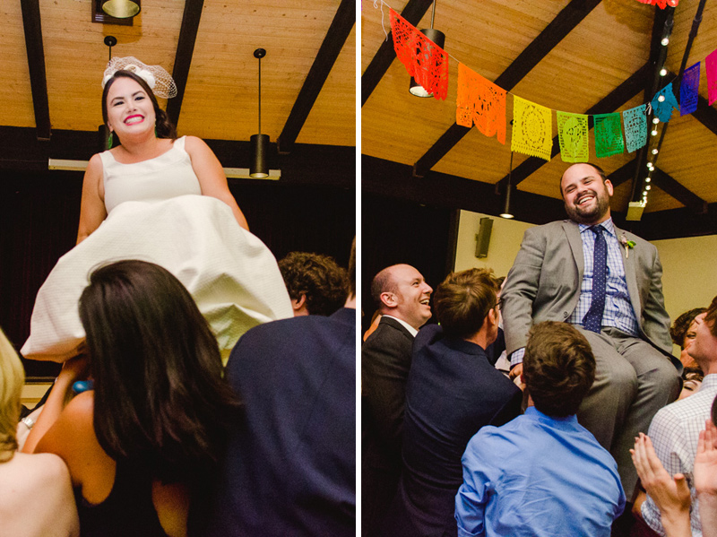 Hora at modern Jewish wedding with Mexican fiesta decor