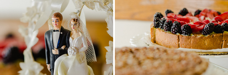 Retro cake topper and pie buffet at modern Los Angeles wedding