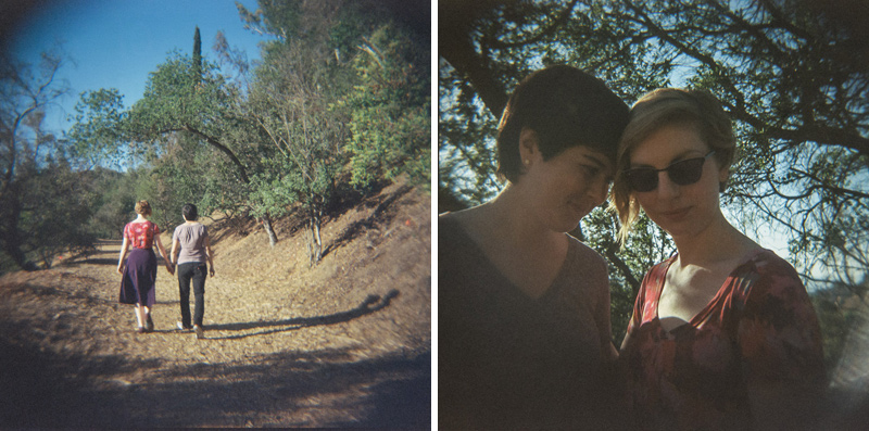 LA lesbian engagement photography with holga toy camera film for unique photos