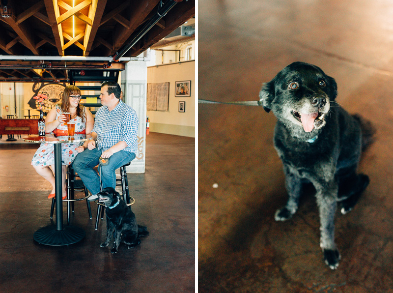 Los Angeles cool fun engagement photos with pet dog at Angel City Brewery