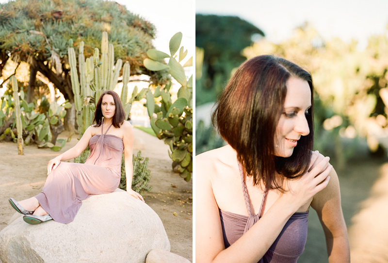 Natural film portrait photography in Los Angeles cactus garden.