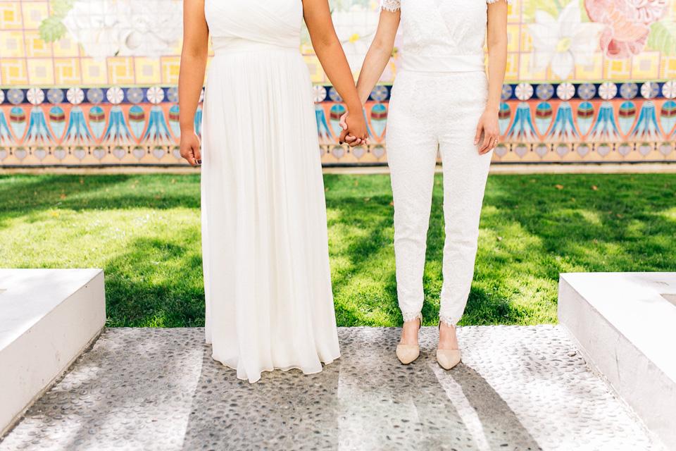 Los Angeles. 2 brides. Chic J Crew lace bridal jumpsuit