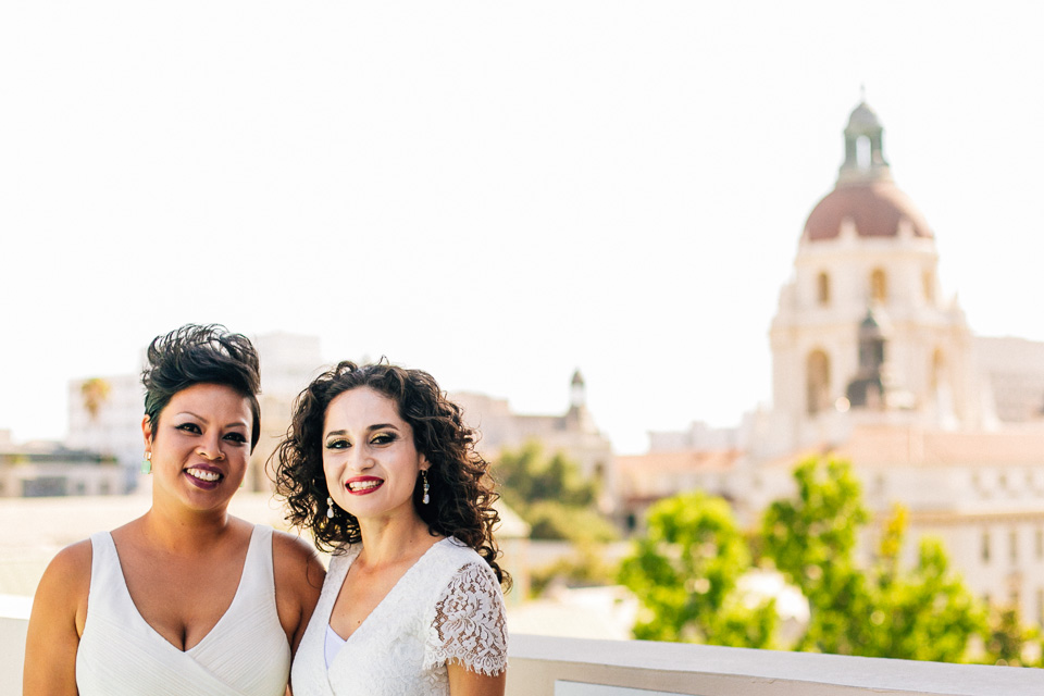 LGBT wedding with Pasadena City Hall in background