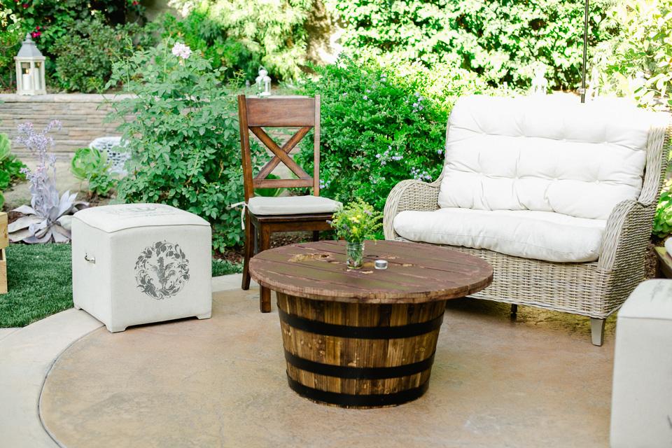 Modern rustic Parisian vineyard decor for Pasadena backyard wedding