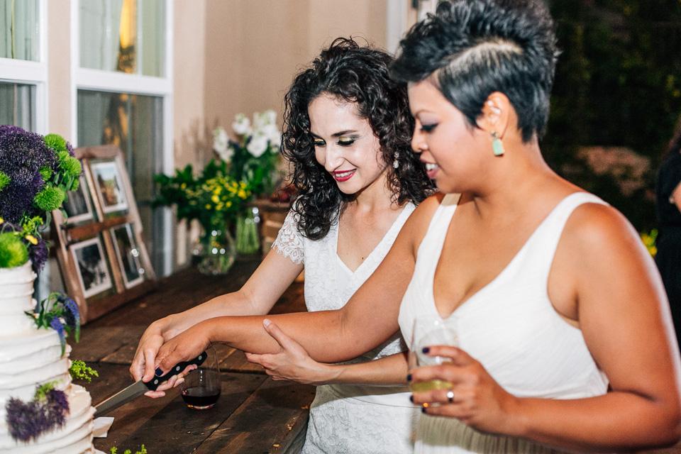 Los Angeles same sex wedding photography. 2 brides 1 cake