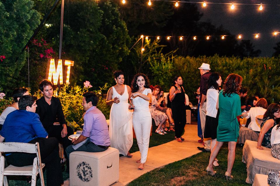 Modern backyard same sex wedding reception  in Pasadena