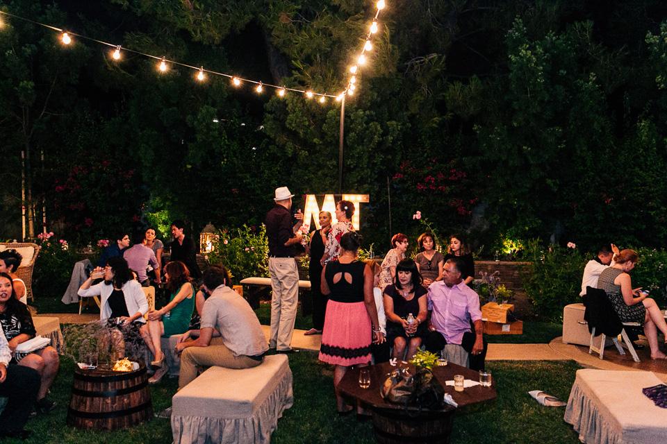Los Angeles backyard wedding reception at night